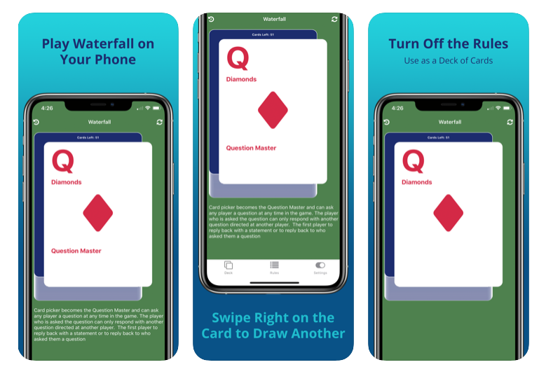 waterfall card drinking game iphone react native Stryker Stinnette